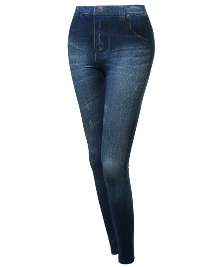Women's Highrise Denim Printed Good Strechy Legging In Blue Or Black