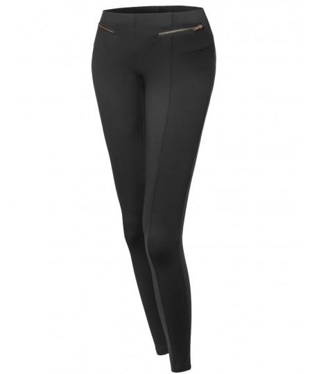 Women's Elastic Waist Band Zipper Detailed Soft Legging- Like Pants
