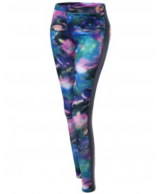 Women's Galaxy Printed Pu Contrast Leggings