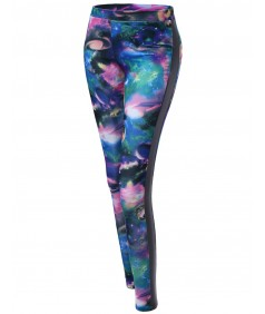 Women's Galaxy Printed Pu Contrast Leggings