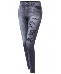 Women's Denim Style Look Stretchy Leggings