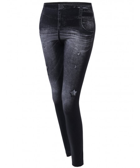 Women's Denim Style Look Stretchy Leggings