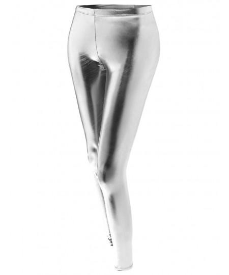 Women's Metallic Shiny Stretchy Foil Leggings