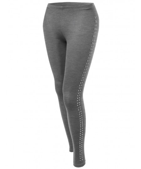 Women's Solid Side Studs Tight Leggings