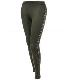 Women's Solid Side Studs Tight Leggings