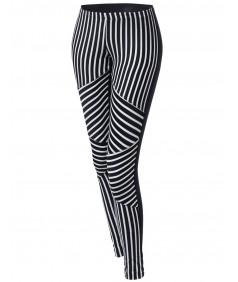 Women's Stripe Panel Back Color Contrast Leggings