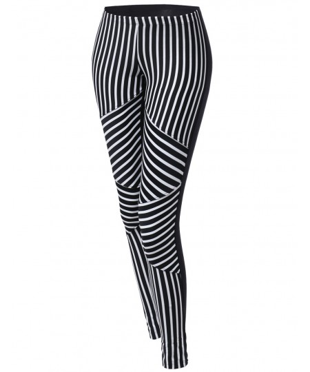 Women's Stripe Panel Back Color Contrast Leggings