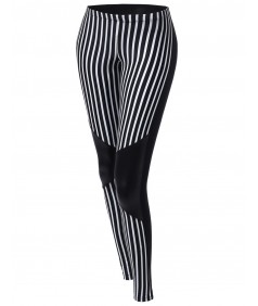 Women's Panel Colorblock Stripe Tight Leggings