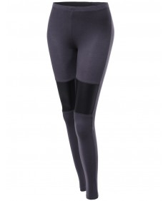 Women's Panel Color Contrast Tight Stretchy Leggings