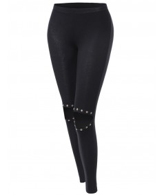 Women's Knee Cutout Distressed Spike Leggings