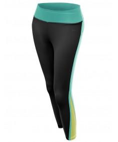 Women's Back Color Contrast 3/4 Capri Skinny Workout Yoga Pants
