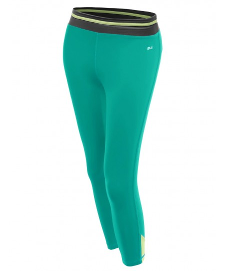 Women's Color Contrast 3/4 Length Capri Skinny Workout Yoga Pants