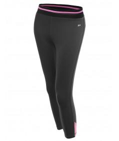 Women's Color Contrast 3/4 Length Capri Skinny Workout Yoga Pants