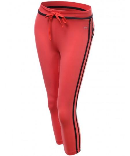 Women's Stripe 3/4 Length Capri Skinny Workout Yoga Pants