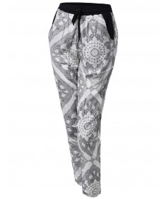 Women's Paisley Pattern Draped Harem Pants