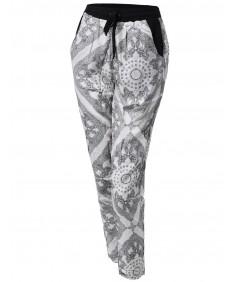 Women's Paisley Pattern Draped Harem Pants