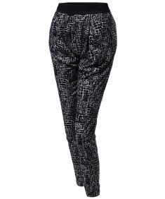 Women's Patterned Draped Loose Harem Pants