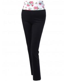 Women's Floral Waistband Foldover Flare Bootleg Yoga Pants