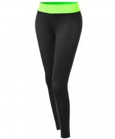 Women's Basic Color Contrast Waistband Yoga Pants