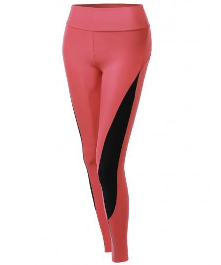 Women's Side Panel Color Contrast Cycling Legging Pants