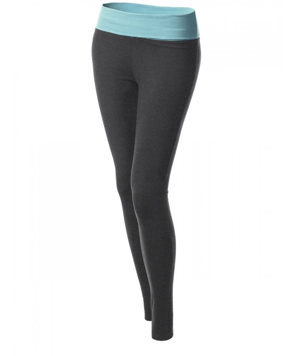 Gray Contrast Fold Over Waist Band Yoga Pants - FashionOutfit.com
