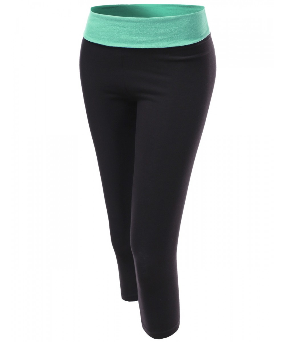 b373dee3a2c5c Women's Basic 3/4 Foldover Contrast Waistband Workout Yoga Pants