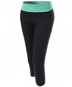 Women's Basic 3/4 Foldover Contrast Waistband Workout Yoga Pants