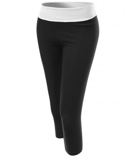 Women's Basic 3/4 Foldover Contrast Waistband Workout Yoga Pants