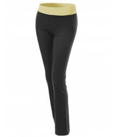 Women's Straight Fit Full Length Color Contrast Waistband Workout Yoga Pants