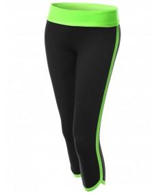 Women's Neon Color Contrast 3/4 Capri Workout Yoga Pants