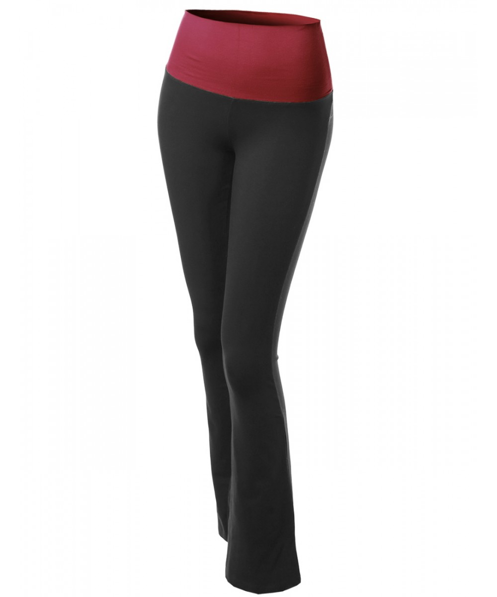f080f7c2a10dd Women's Color Contrast Foldover Flare Bootleg Workout Yoga Pants