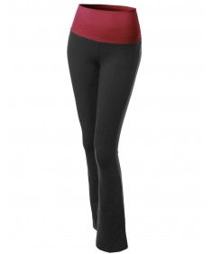Women's Color Contrast Foldover Flare Bootleg Workout Yoga Pants