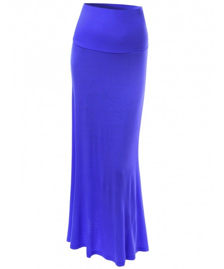 Women's Solid Full Length Foldover Long Maxi Skirts