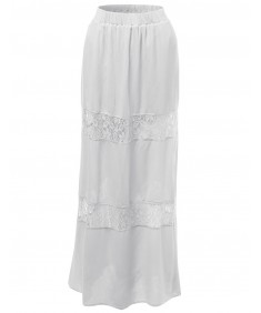 Women's Lace Panel Full Length Long Maxi Skirts