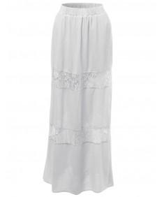 Women's Lace Panel Full Length Long Maxi Skirts