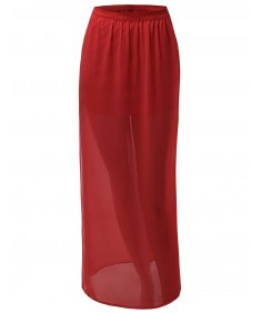 Women's Full Length Long Side Slit Maxi Skirts