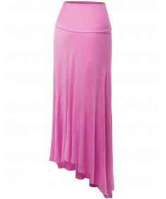 Women's Solid Diphem Full Length Foldover Long Maxi Skirts