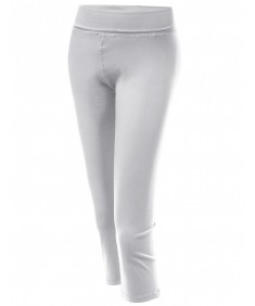 Women's Basic 3/4 Solid Foldover Workout Yoga Pants