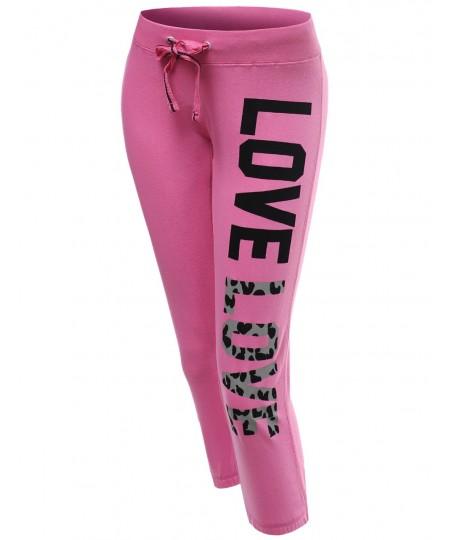 Women's 3/4 Love Printed Leopard Capri Workout Sweatpants