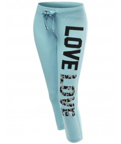 Women's 3/4 Love Printed Leopard Capri Workout Sweatpants