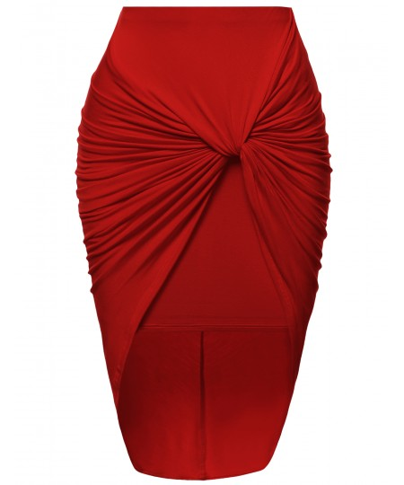 Women's Sexy Fitted Front Knot Midi Skirt