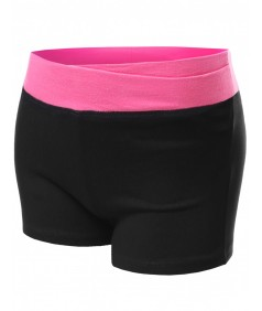 Women's Cross Waistband Colorblock Workout Yoga Shorts