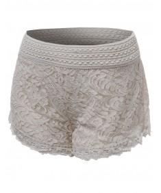 Women's Slim Fit Wide Waistband Lace Hem Shorts