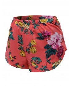 Women's Floral Flower Pattern Printed Woven Shorts