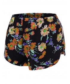 Women's Floral Flower Print Elastic Waist Short Pant Shorts
