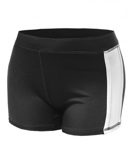 Women's Color Contrast Meshed Workout Shorts