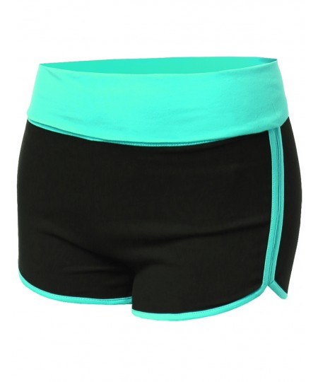 Women's Basic Color Contrast Fold Over Dolphin Shorts