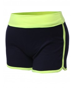 Women's Basic Neon Color Contrast Fold Over Dolphin Shorts