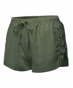 Women's Side Laced Up Drawstring Shorts
