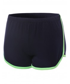 Women's Neon Colorblock Activewear Track Jogging Workout Shorts